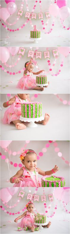 Pink and green 1st birthday cake smash session with KristeenMarie Photography