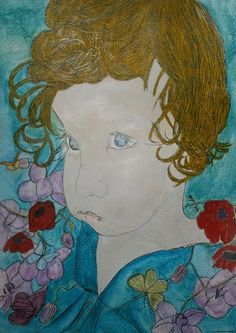 LA BELLA PICCOLA BAMBOLA BIONDA Tableau fait à l' Encre de Chine laque et gomme noire, blanche, bleue, rouge, jaune et crayons de couleurs aquarellables, technique mixte 36/48 Picture(Board) made for the India ink lacquers and black, white, blue, red, yellow gum(eraser) and aquarellables coloured pencils, mixed technique 36/48