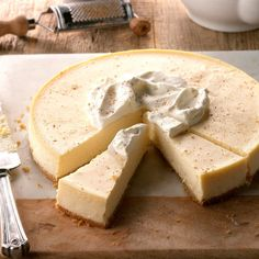 Eggnog Cheesecake Recipe -I make good use of extra eggnog by creating this luscious cheesecake. A bit of rum extract adds a special taste. —Kristen Grula, Hazleton, Pennsylvania recipes for two recipes fry recipes Eggnog Cheesecake, Christmas Cheesecake, Cheesecake Recipes, Dessert Recipes, Chocolate Cheesecake, Party Desserts, Cookie Recipes, Holiday Baking, Christmas Baking