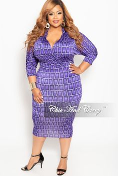030cc6b27d9a New Plus Size Collared Faux Wrap BodyCon Dress with 3/4 Sleeves in Purple  Brick Print