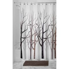 """InterDesign Forest Fabric Shower Curtain, 72"""" x 72"""", Black/Gray  This could be used to cover the window so long as its really fabric"""