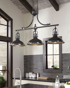 Ashley Furniture Joella Pendant Light with Made of metal,Indoor use only,Hardwired; professional installation type A Edison-style bulbs (not included); Rustic Kitchen Lighting, Kitchen Ceiling Lights, Kitchen Island Lighting, Kitchen Lighting Fixtures, Kitchen Pendant Lighting, Kitchen Pendants, Farmhouse Lighting, Island Kitchen, Kitchen Lights Over Island
