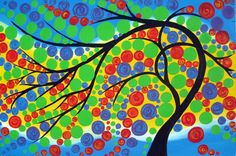 large tree of life painting large bright painting by SheerJoy