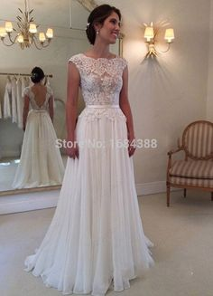 A-line Round Neckline Chiffon Wedding Gown, Lace Long Wedding Dresses, Open Back Wedding Dress, Lace Sleeves Wedding Dress,Wedding Ball Dresses, Bridal Dresses, Ball Gowns, Prom Dresses, Evening Dresses, Dresses 2016, Dresses Online, Mini Dresses, Formal Dresses