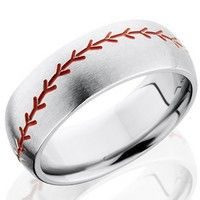 Fable Designs Titanium Half Round Milled Baseball with Red Enamel Wedding Band