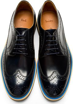 Paul Smith: Black Leather Grand Wingtip Brogues
