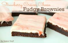Strawberry Cream Cheese Fudgy Brownies from sixsistersstuff.com.  A new twist on our favorite brownie! #dessert #brownie