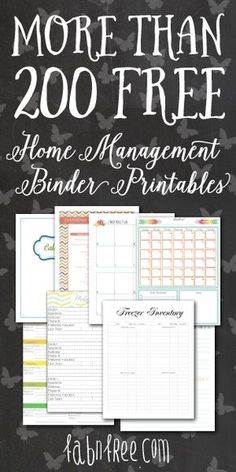 Mix and Match for More than 200 Free Home Management Binder Printables! Mix and Match for More than 200 Free Home Management Binder Printables! Planer Organisation, Binder Organization, Financial Organization, Household Organization, Home Business Organization, Printable Organization, Organizing Paperwork, Household Binder, Household Checklist