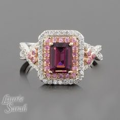14kt Rose and White Gold Pink Tourmaline Ring with Pink Sapphire and Diamond Double Halo - LS3122