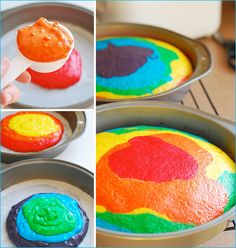 Tie dye cake- I'm going to consider this recycling...just because I've had food coloring in my cupboard for years!! Besides, it looks too yummy not to share!