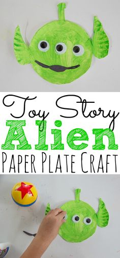 If your kids love Toy Story then they will love to create this fun and easy Toy Story Alien Paper Plate Craft. - : If your kids love Toy Story then they will love to create this fun and easy Toy Story Alien Paper Plate Craft. Disney Diy, Disney Crafts For Kids, Paper Plate Crafts For Kids, Summer Crafts For Kids, Toddler Crafts, Spring Crafts, Summer Fun, Arts And Crafts Interiors, Arts And Crafts Furniture