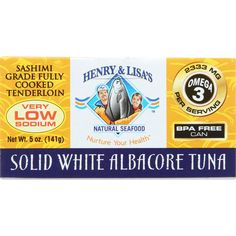 Henry and Lisa Natural Seafood Tuna - Solid White Albacore - No Salt Added - 5 oz - case of 12 - We have expanded our canned seafood line to include a NO SALT ADDED Solid White Albacore Tuna. In addition, we are proud to use only BPA free lined cans. We have been told by many and believe ourselves that this is the worlds best tuna in a can. Our fisher friends in the Pacific Northwest catch them in small family boats on hook and line. They deep chill the tuna on-board within minutes…