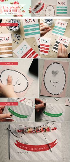 Valentine's Cards - 3 Styles of DIY Valentine's Cards - PDF Printables that cost $ 3.99 US. Fun and pretty!