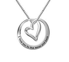 """ELBONTEK 100% Sterling Silver """"I Love You To The Moon and Back"""" Circle Heart Pendant Necklace, 18""""-Unisex * Check out this great product. http://www.amazon.com/gp/product/B019VSPTMK/?tag=jewelry3638-20&pqr=260916212749"""