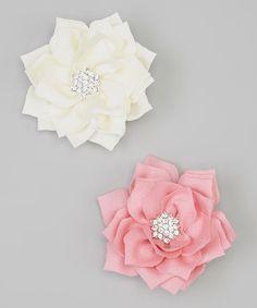 Love this Pink & White Rhinestone Bloom Clip Set by Olivia Rae on #zulily! #zulilyfinds