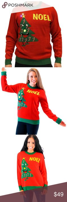 Unisex Red NOEL Light Up Sweater 100% Acrylic Great add on for Ugly Christmas Sweater parties! Requires two CR2032 3-volt lithium coin batteries; batteries (not included) The sweater has light up lights on the star and the ornament decoration on the tree Sweaters Crewneck