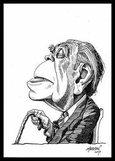 Caricatura de Jorge Luis Borges (tinta china)