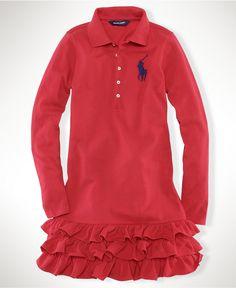 Ruffles! Ralph Lauren Girls Dress, Little Girls Big Pony Polo Dress - Kids Girls 2-6X - Macy's $49.50 #MacysBTS