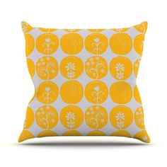 "Anneline Sophia ""Dotty Papercut Yellow"" Circles Gray Throw Pillow 