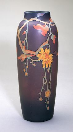 Vase, 1906, The Rookwood Pottery Company (American, est. 1880), Harriet Elizabeth Wilcox (1869–1943), decorator, earthenware, Painted Mat In...