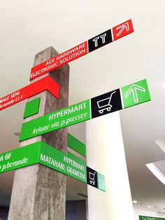 BALEKOTA Wayfinding, clearly visible signage to give directions Floor Signage, Directional Signage, Wayfinding Signs, Signage Display, Signage Design, Environmental Graphic Design, Environmental Graphics, Sign System, Exterior Signage