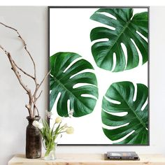 Image result for plant leaves painting Tropical Leaves, Tropical Flowers, Tropical Plants, Monstera Deliciosa, Plant Pictures, Wall Art Pictures, Green Wall Decor, Estilo Tropical, Leaf Drawing