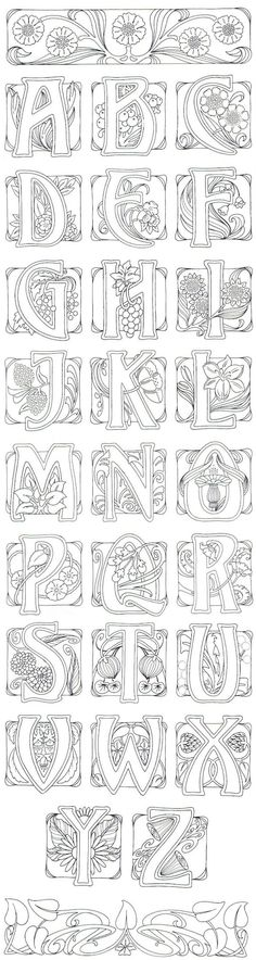 Art Nouveau- art journal idea: illustrate an alphabet. AMD - I adore this typography in art noveau style Colouring Pages, Adult Coloring Pages, Coloring Books, Alphabet Coloring, Art Nouveau, Doodles, Illuminated Letters, Letters And Numbers, White Letters