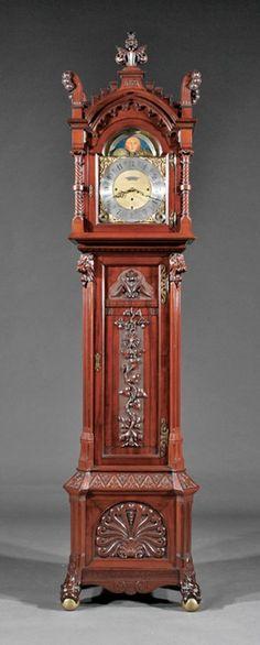 Carved Cuban Mahogany Tall Case Clock, Pabst : Lot 355
