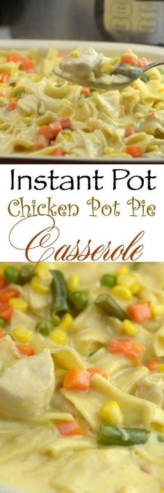 I am a huge fan of chicken pot pie, but frankly, I don't make it that often because it is such a process. I pulled out my Instant Pot and got to work on creating this Instant Pot chicken pot pie casserole that gives you the same flavor as a traditional po Chicken Pot Pie Casserole, Easy Chicken Pot Pie, Casserole Recipes, Chicken Potpie, Ip Chicken, Chicken Soup, Rotisserie Chicken, Cream Chicken, Chicken Spaghetti