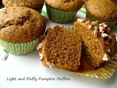 Home Cooking In Montana: Light and Tender Pumpkin Muffins. using Spelt Flour. Flour Recipes, Baking Recipes, Spelt Flour, Healthy Treats, Pumpkin Recipes, Bread Baking, No Cook Meals, Sweet Tooth, Muffins