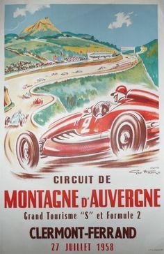 Affiche+originale+Circuit+de+montagne+d'auvergne+Clermont+Ferrand+-+Geo+HAM
