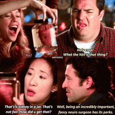 Lmao how much I miss Joe the bartender! I'm re-watching GA and holy jesus he was amazing. — Favorite one out of these Cristina. Greys Anatomy Funny, Greys Anatomy Season, Grey Anatomy Quotes, Grays Anatomy, Owen Hunt, Greys Anatomy Characters, Grey Quotes, Grey Stuff, Cristina Yang