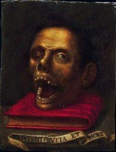 Vanité sur une face, Entourage de Jacopo Ligozzi (1550 - 1627). Italie, XVI-XVIIème siècle. photo Artcurial - Briest-Poulain-F.Tajan - Paris