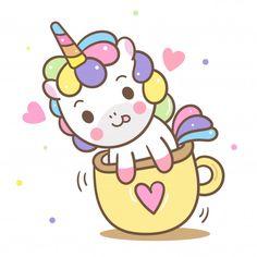 Illustrator of Cute Unicorn vector in mini cup, Kawaii pony cartoon, Nursery decoration vector illustration Cute Unicorn, Unicorn Art, Arte Do Kawaii, Kawaii Art, Doodles Bonitos, Unicorn Wallpaper Cute, Unicornios Wallpaper, Illustrator, Unicorn Drawing