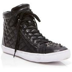 Rebecca Minkoff Sneakers ($175) ❤ liked on Polyvore featuring shoes, sneakers, black, high top trainers, black high tops, quilted sneakers, black trainers and kohl shoes