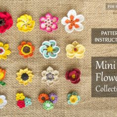 16 Mini Crochet Flower Patterns Collection - Rose, Tulip, Daisy, Orchid and more flower appliques for your project - Instant Download ETSY