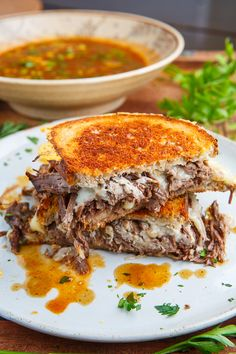Pot Roast Grilled Cheese French Dip Sandwich with Spicy Miso Au Jus on Closet Cooking Roast Beef Au Jus, Pot Roast, Soup And Sandwich, Sandwich Recipes, Sandwich Board, Au Jus Recipe, Sandwiches, French Dip, Carne