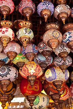 Colorful lamps hang in shop in Kusadasi, Turkey