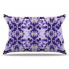 East Urban Home Tropical Orchid Dark Floral by Dawid Roc Pillow Sham Size: Standard, Color: Purple/Lavender