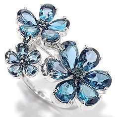 Gem Treasures® Sterling Silver Gemstone & Diamond Three-Flower Ring