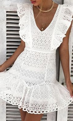 Keep A Secret White Cotton Eyelet Lace Sleeveless Ruffle V Neck Cut Out Back Casual A Line Flare Mini Dress Source by harjujerrtht line dresses casual Dress Outfits, Casual Dresses, Fashion Outfits, Summer Dresses, Mini Dresses, African Fashion Dresses, African Dress, White Fashion, Look Fashion