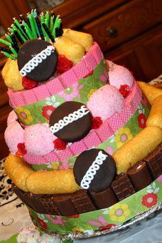 Birthday Cake made with Hostess CupCakes, SnoBalls and Twinkies