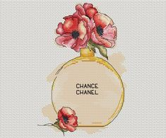 Bottle of perfume with poppies cross stitch pattern Beauty cross stitch pattern gift for woman cross Cross Stitch Rose, Cross Stitch Flowers, Cross Stitch Charts, Counted Cross Stitch Patterns, Cross Stitch Designs, Hand Embroidery Stitches, Cross Stitch Embroidery, Bunny Love, Cross Stitch Tutorial