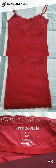 🌸Aeropostale Red Lace Tank Top🌸 Red, Areopostale, SIZE small, lace on the top of the chest and bottom of tank top. no stains or rips Areopostale Tops Tank Tops