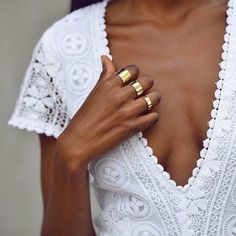 Rings. It's all about the little details: Gold accents and white lace design