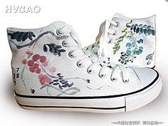 Painted canvas shoes, fashion shoes, ink landscape painting