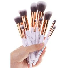 10Pcs Marble Printed Handle Makeup Brushes Set | Gearbest