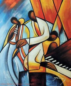 Painting: Jazz Music Trio Keyboard Bass Horn Modern Abstract Art Stretched Oil Painting