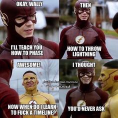 He is the very first Kid Flash with the superhuman speed powers. Check out the funniest Kid Flash memes that will make you laugh uncontrollably. Flash Barry Allen, Kid Flash, Dc Memes, Funny Memes, Funny Quotes, Jokes, Hilarious, Superhero Memes, Superhero Shows