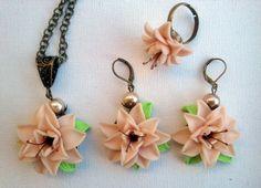 Light peach flower set  Necklace earrings ring  Handmade by insou, $41.00